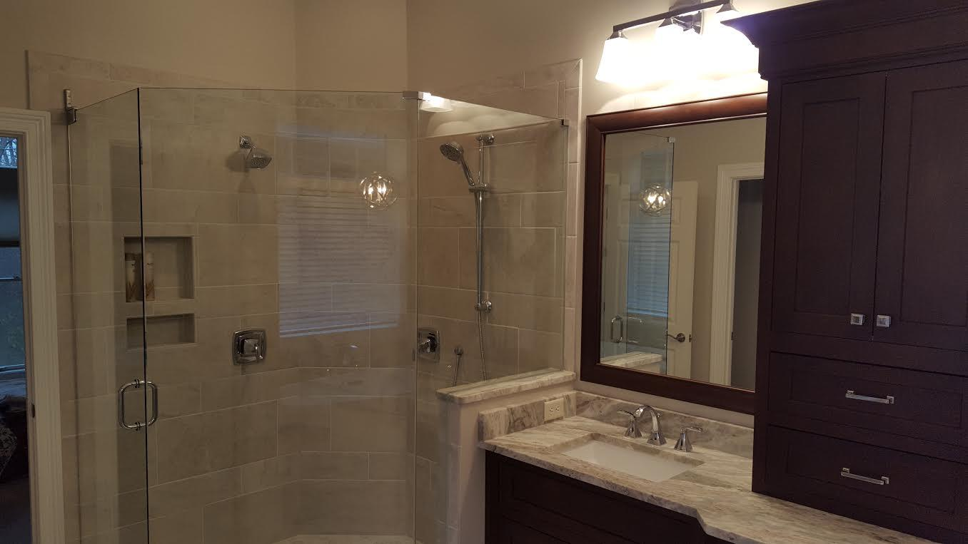 A completed modern shower remodel