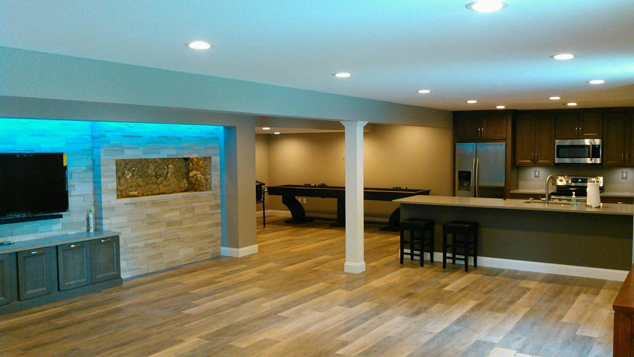 contemporary basement remodel in union township